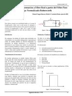 Análisis de Transformación a Filtro Real a partir del Filtro Paso Bajo Normalizado Butterworth