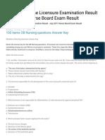 July 2011 Nurse Licensure Examination Result - July 2011 Nurse Board Exam Result_ 100 items OB Nursing questions Answer Key(1).pdf