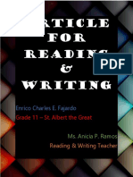 Article for Reading and Writing