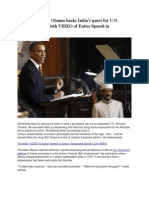 President Barack Obama Speech in India's Parliament backs India's quest for U.N. permanent seat (with VIDEO of ENTIRE SPEECH in India's Parliament)