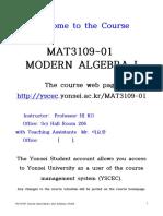 MAT3109-01 MODERN ALGEBRA I