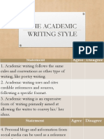 The Academic Writing Style