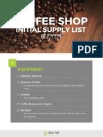 SUJ Coffee Shop Equipment List