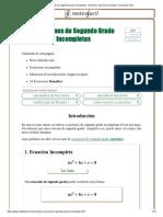 Ecuacion 2 Grado Incompletas