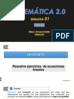 SEMANA-01-2-ECUACIONES LINEALES-MATE-2.0-2018-20