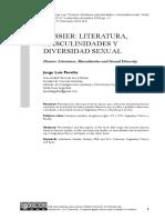 Dossier - Literatura, Masculinidades y Diversidad Sexual.