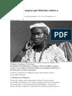 Mulheres Negras Que Lutaram Contra a Escravidão