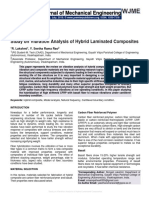 Study on Vibration Analysis of Hybrid Laminated Composites