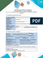 Guía de Actividades y Rúbrica de Evaluación - Pretarea - Resumir Artículo