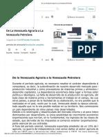 De La Venezuela Agraria a La Venezuela Petrolera