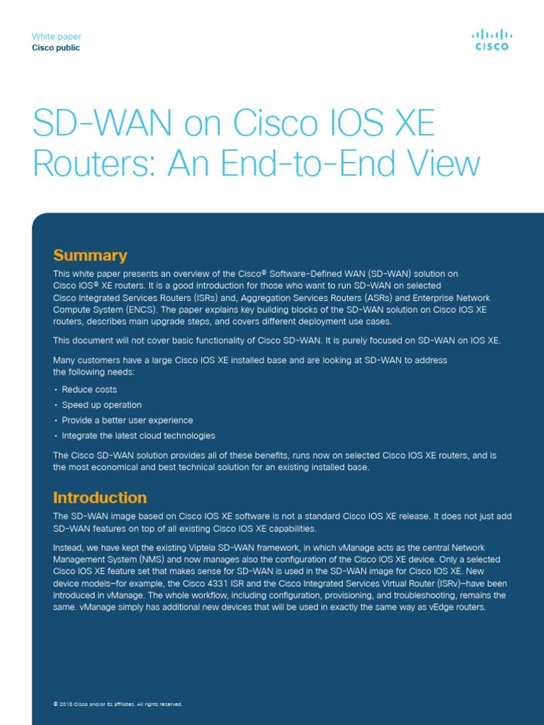Sd Wan On Cisco Ios Xe Routers An End To End View Router Computing Multiprotocol Label Switching