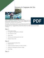 Sample DIY Itinerary in Cagayan de Oro