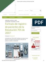 Formato de Registro de Pacientes de La Resolución 705 de 2007