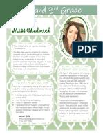 Ms. Chadwick's Meet the Teacher Letter