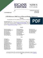 ATR Releases 2010 List for Texas