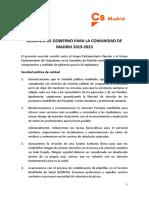 Acuerdo de Gobierno PP-Cs para la Comunidad de Madrid