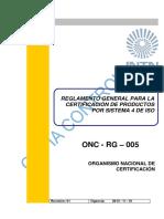 9 ONC-RG-005 Certificacion Sistema 4 de ISO Rev. 01