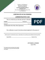 Certificate of No Pending Admin Case