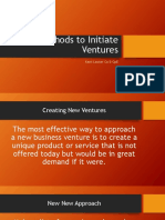 Methods to initiate ventures