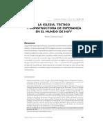 TexLA IGLESIA, TESTIGO Y CONSTRUCTORA DE ESPERANZA EN EL MUNDO DE HOYto Para Taller Sobre La Esperanza
