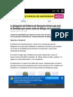 La Delegación Del Gobierno de Venezuela Informa Que Está en Barbados Para Nueva Ronda de Diálogo Con La Oposición - RT