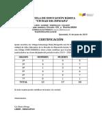 Certificación de Alimentación Escolar 2019