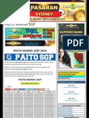 PAITO WARNA SGP 2019 - Angkanet Aplikasi Togel