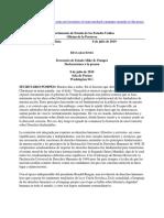 Secretario de Estado Mike R. Pompeo - Creación de comisión sobre DDHH