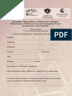 Ficha de Inscripción Expositores Jornadas Biopolítica, Resistencia y Utopía Homenaje a Primo Levi en El Centenario de Su Nacimiento 1919-2019