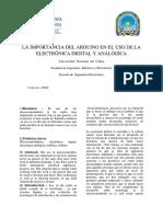 EL Uso e Importancia de Arduino en La Electrónica Analógica y Digital