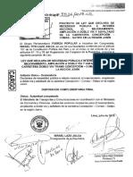 Congresista Israel Lazo - Proyecto de Ley N° 4536 - ley que declara de necesidad pública e interés nacional el mejoramiento, ampliación a doble vía y asfaltado de la carretera Concepción-Comas -Satipo en la región Junín.