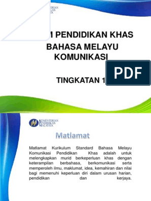 Kssm Pendidikan Khas Bahasa Melayu Komunikasi Tingkatan 1