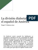 La división dialectal del español de América