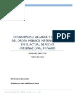 Operatividad, alcance y limites del orden público internacional en el actual derecho internacional privado