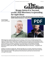 Billy Bragg claims it is 'beyond doubt' that Morrissey is spreading far-right ideas | Music | The Guardian