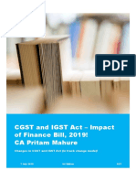 CGST and IGST Act – Impact of Finance Bill, 2019 - CA Pritam Mahure