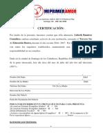 Certificacion de Presentacion de Niños