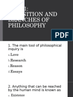 Quiz 1 Definition and Branches of Philosophy