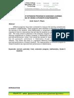 Effectiveness of Extension program
