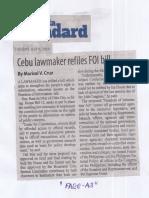Manila Standard, July 9, 2019, Cebu lawmakers refiles FOI bill.pdf