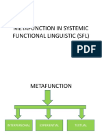 Metafunction in Systemic Functional Linguistic (Sfl)