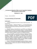 Ordenanza Que Aprueba El Plan Local de Seguridad Ciudadana 2019 Del Distrito de Huarocondo