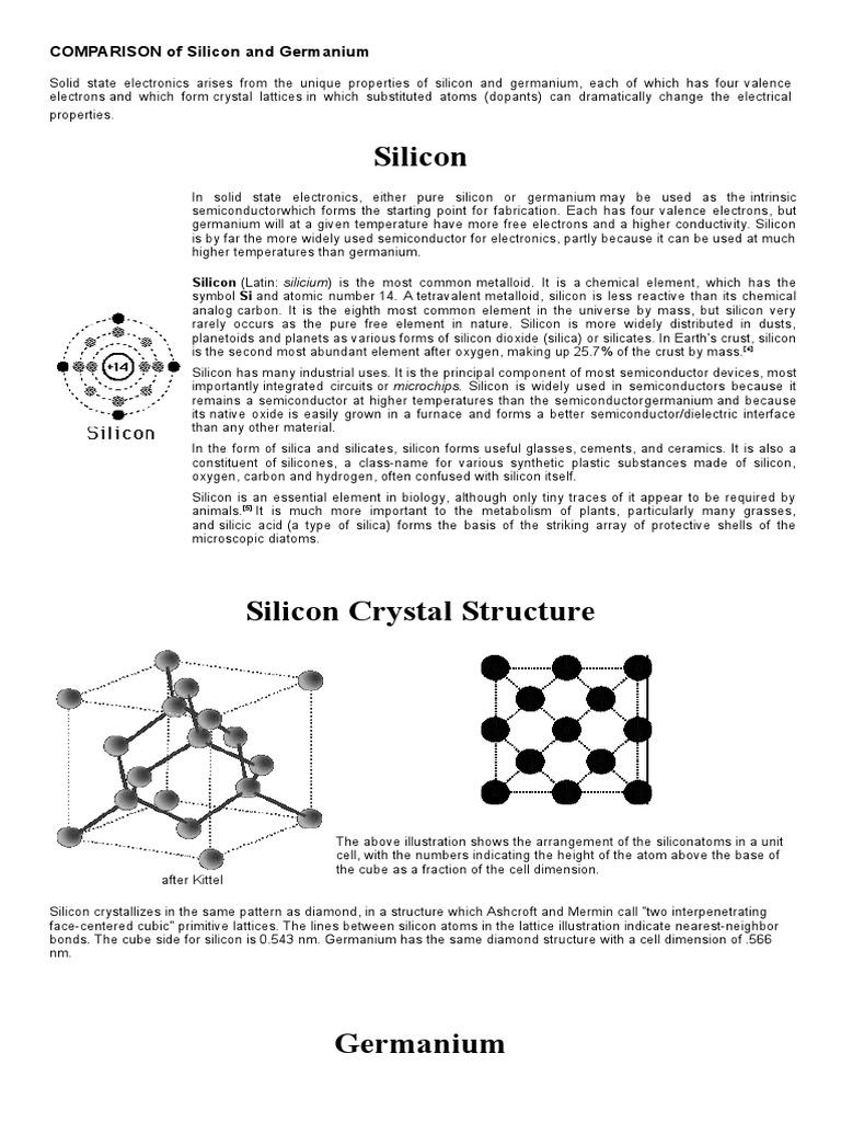 Comparison Of Silicon And Germanium Germanium Diode