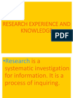 Research Experience and knowledge