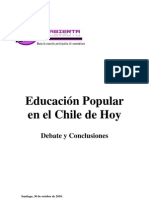 EDUCACIÓN POPULAR DEBATE Y CONCLUSIONES
