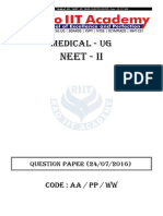 NEET PHASE 2 2016 Question Paper