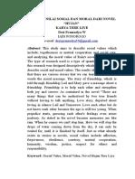 Desi Pramudya Wardani (210617094) Analisis Nilai Sosial dan Moral dalam Novel Hujan Karya Tere Liye.docx