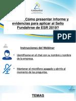Webinar Cómo Presentar Evidencias Para Aplicar Al Sello ESR 2019