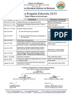 A sample Timetable of Activities of Be and Division Work Plan