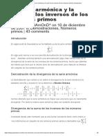La Serie Armónica y La Serie de Los Inversos de Los Números Primos Gaussianos